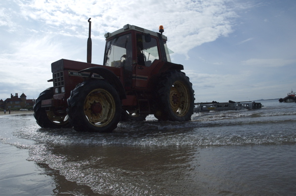 Tractor on Beadnell Beach - Beadnell Bay Boat Launch
